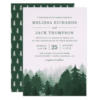 Winter Pine Tree Forest Green Rustic Wedding Invitations