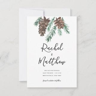 Winter Pinecone Watercolor Non-Photo Save The Date