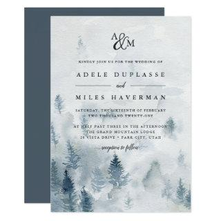 Winter Reverie Monogram Wedding Invitations
