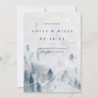 Winter Reverie | Watercolor Forest Save the Date