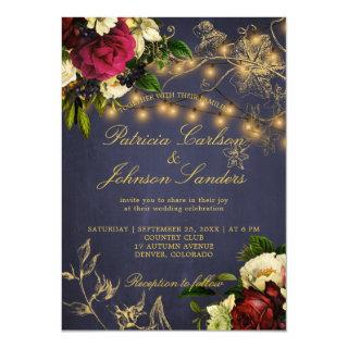 Winter rustic lights floral navy burgundy wedding invitation