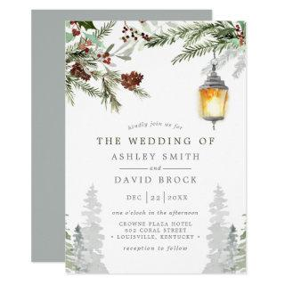 Winter Rustic Pine Trees Botanical Lantern Wedding Invitation