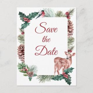 Winter Save The Date Christmas Wedding Engagement Postcard