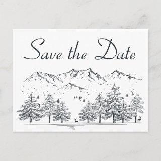 Winter Save the Date Mountain Wedding Engagement Postcard