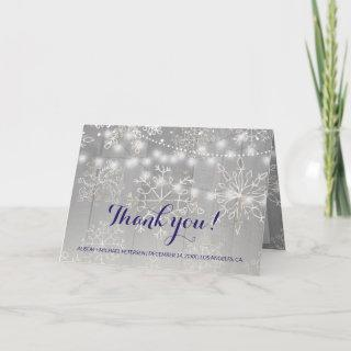 Winter Silver Snowflakes Wedding | Thank You Invitations