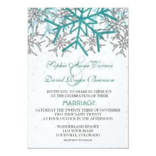 Winter Silver Turquoise Snowflakes Wedding Invitations