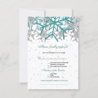 Winter Silver Turquoise Snowflakes Wedding RSVP Card