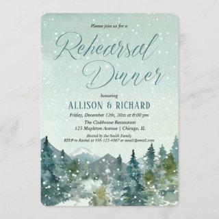 Winter snow fall mountains rustic rehearsal dinner