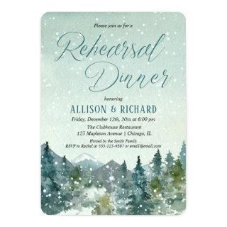 Winter snow fall mountains rustic rehearsal dinner Invitations