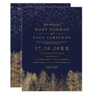 Winter snow navy blue pine trees forest wedding Invitations