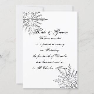 Winter Snowflake Private Marriage / Elopement Holiday Card
