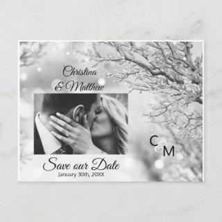 Winter Snowflakes Wedding SAVE OUR DATE | PHOTO Announcement Postcard
