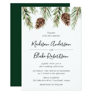 Winter Watercolor Pine Cone Wedding Invitations