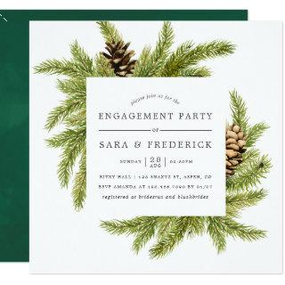 Winter Watercolor Pines Engagement Party Invite