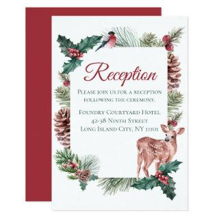 Winter Wedding Reception Christmas Deer Red Floral Invitation