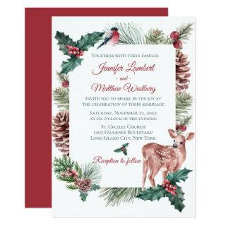 Winter Wedding Red Christmas Reindeer Deer Floral Invitations