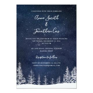 Winter Wedding Snow Stars Navy Blue White Wedding Invitations