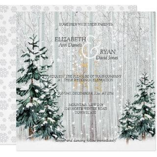 Winter Wedding Sparkle Snowflakes Pine Trees Invitation