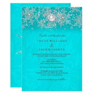 Winter Wedding Teal Crystal Pearl Snowflake Silver Invitations