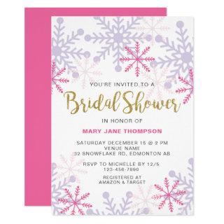 Winter Wonderland Bridal Shower Pink Glitter Gold Invitations