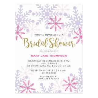 Winter Wonderland Bridal Shower Pink Snowflake Postcard