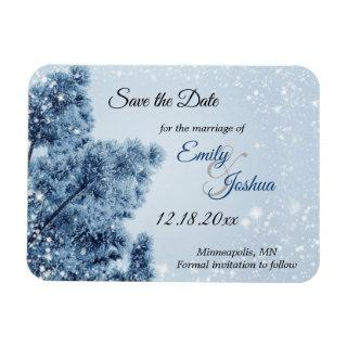 Winter Wonderland Snow and Pine Save the Date Magnet