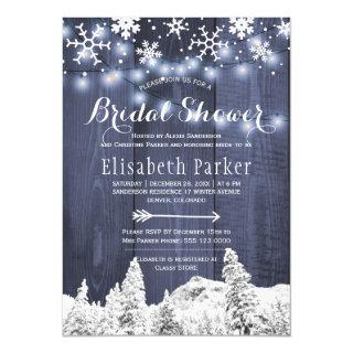 Winter wonderland snowing bridal shower invitation