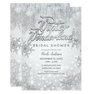 Winter Wonderland White Snowflakes Elegant Party Invitation