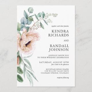 Wispy Boho Watercolor Poppies and Greenery Wedding Invitation