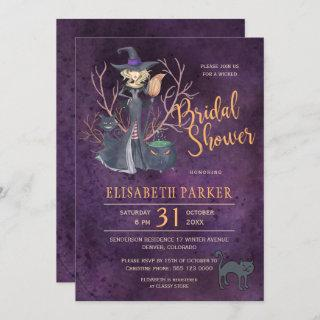 Witch watercolor Halloween bridal shower party