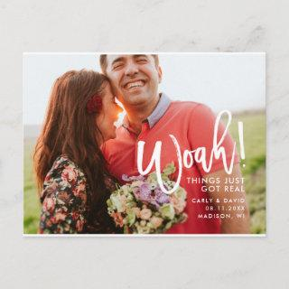 Woah! Hand Lettered Fun Brushed Save the Date Announcement Postcard