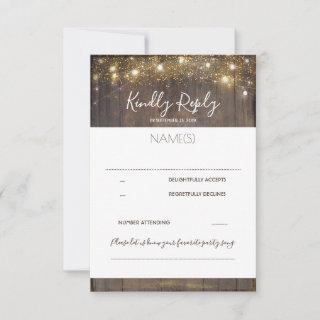 Wood and String Lights Rustic Wedding RSVP