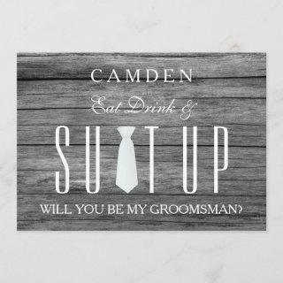 Wood Background Suitup Will you be my groomsman Invitation