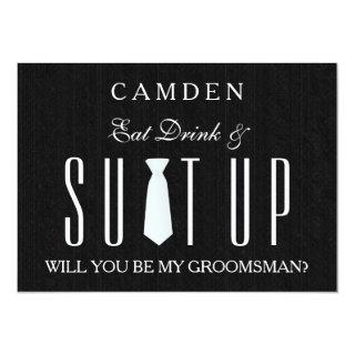 Wood Background Suitup Will you be my groomsman Invitations