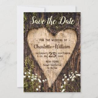 Wood Bark Baby Breath Heart Rustic Wedding Save The Date