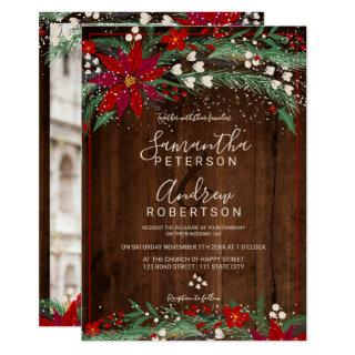 Wood Christmas floral wreath snow photo wedding Invitations