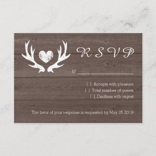 Wood country chic deer antler RSVP wedding cards