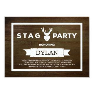 Wood Grain Stag Party Invitation