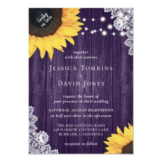 Wood Lace Sunflower Purple Wedding Invitations