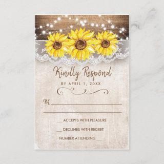 Wood Lace Sunflower Rustic RSVP Response Card