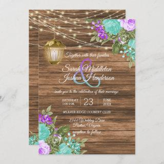 Wood, Lantern and Purple and Teal Flower Wedding