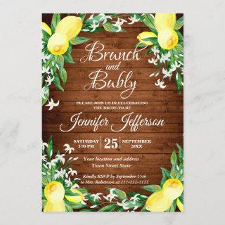 Wood Lemons & Greenery Blossom Brunch & Bubbly Invitations