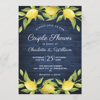 Wood & Lemons Greenery Watercolor Couple Shower Invitations