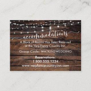 Wood & Lights Wedding Accommodations Insert Cards