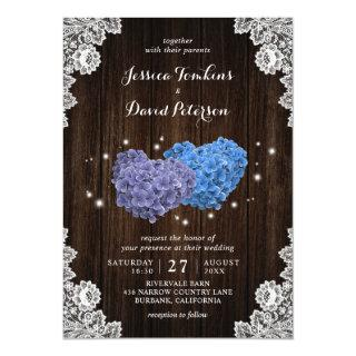 Wood Purple Blue Floral Hearts Wedding Invitations