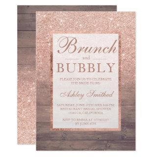 Wood rose gold glitter brunch bubbly bridal shower Invitations