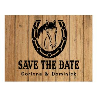 Wood Save The Date Engagement Wedding Horse Postcard