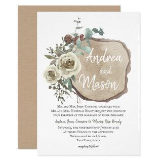 Wood Slice Natural Rose and Eucalyptus Wedding Invitations