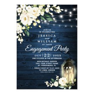 Wood White Rose Watercolor Engagement Party Invitation