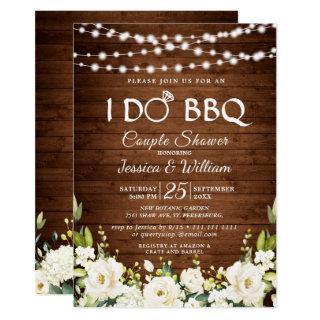 Wood & White Roses Floral I Do BBQ Couple Shower Invitations
